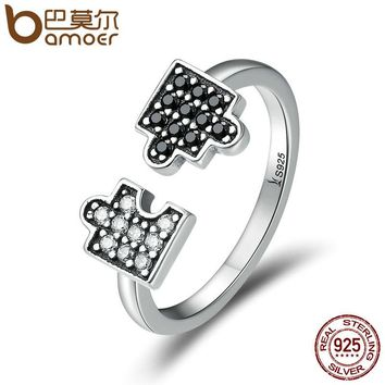BAMOER Authentic 100% 925 Sterling Silver Glamour Puzzle Clear CZ Open Finger Rings for Women Sterling Silver Jewelry SCR180