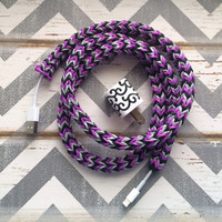 New Super Cute Chevron Designed Loom Banded 4ft Certified Cord. Black, Purple & Grey Chevron Designed Tangle Free Apple IPhone Certified