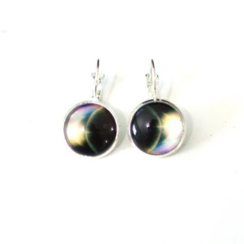Earth from Space 14mm Glass Dome Cabochon Dangle Earrings