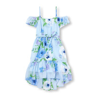 Girls Short Sleeve Printed Woven Cold-Shoulder Hi-Low Dress | The Children's Place