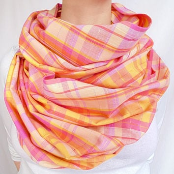 Spring Scarf, Pink Plaid Infinity Scarf, Peach, Pale Pink, Gold, Easter, Pastel, Pink Tartan, Oversize Scarf, Summer Scarf, Extra Long, Gift