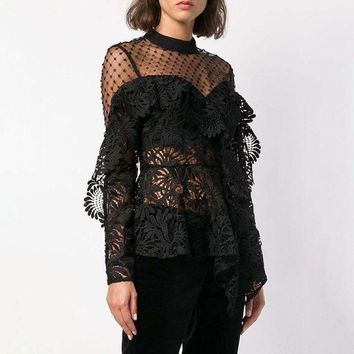 Sexy Hollow Out Irregular Lace Tops  Long Sleeve Perspective Ruffle Women's Blouse