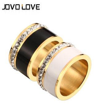 JOVO Luxury Gold Color Rings for Women Wedding Gift Black/White color with charm CZ Paved Design Rose Gold Women Rings Jewelry
