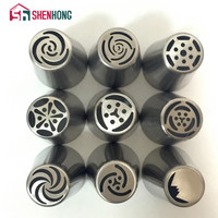 9 Pieces / Set Russian Piping Tips Stainless Steel Icing Nozzles Pastry Cake Decorating Decoration Tools Boquillas Rusas