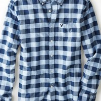 AEO Men's Buffalo Check Button Down Shirt (Light Blue)
