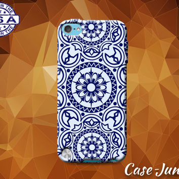 Blue Mandala Floral Flower Pattern Cute Custom Case For iPod Tough 4th Generation Gen And iPod Touch 5th Generation Gen