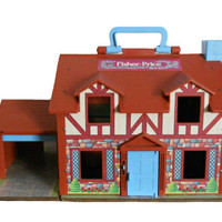 Vintage Fisher Price Play House - 1980s Tudor Style with Handle and Garage
