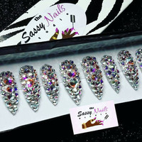 Diamond Princess: Swarovski Crystal Nails| Glitter Nails|Press On Nails| Glue On Nails| Stiletto Nails| BirthdayNails| Fake Nails|