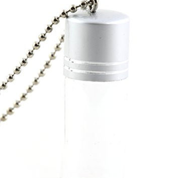 Empty Glass Vial Necklace Silver Tone Bottle Pendant NY52 Fashion Jewelry