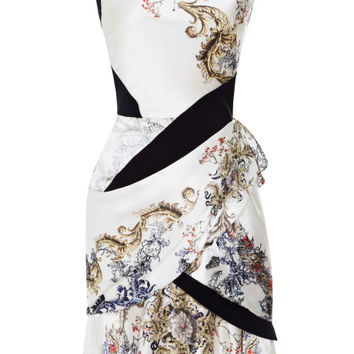 Printed Silk-Satin Draped Dress by Prabal Gurung
