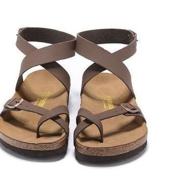 Newest Birkenstock Summer Fashion Leather Cork Flats Beach Lovers Slippers Casual Sand