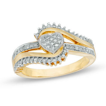 Diamond Accent Shadow Heart Bypass Promise Ring in Sterling Silver and 10K Gold Plate - View All Rings - Zales
