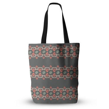 "Zara Martina Mansen ""Flora Formations"" Gray Coral Everything Tote Bag"