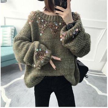 Winter Warm Women Sweet Mermaid Sequined Pure Color Sweater Casual Loose Lantern Sleeve Outwear Long Knitting Pullover Sweater