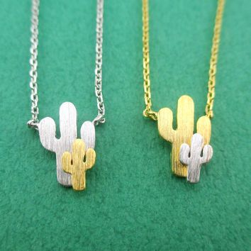 Miniature Saguaro Cactus Shaped Desert Vibes Themed Pendant Necklace