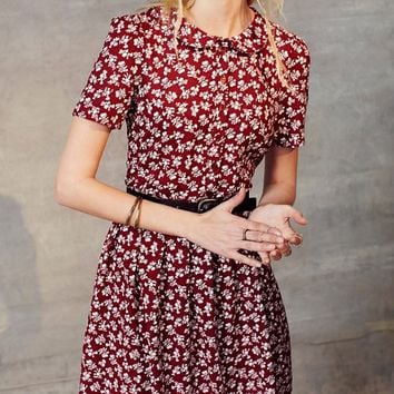 urban outfitters maroon floral dress with collar