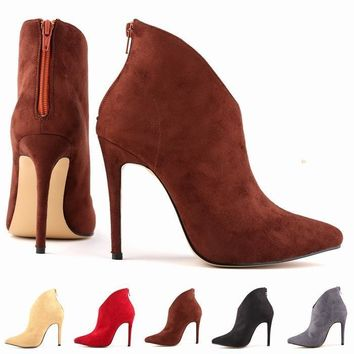 FREE SHIPPING WOMENS FAUX VELVET HIGH STILETTO THICK HEEL PLATFORM ANKLE BOOTS SHOES U