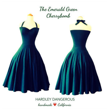 Forest Green Rockabilly BRIDESMAID Halter Dress, Hunter Green CHRISTMAS Pin Up Wedding Party Dress, Vintage Modern Emerald Green Dress