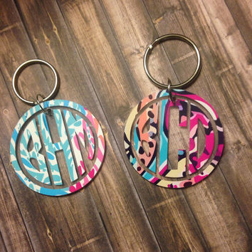 Lilly Pultizer Inspried Monogrammed Keychain / Lilly Acrylic Keychain / Lilly Monogrammed Keychain