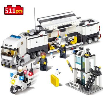 511pcs Police Station Building Blocks Toys Compatible Legos Friends Technic City Enlighten Bricks Toys Birthday Gifts For Kids