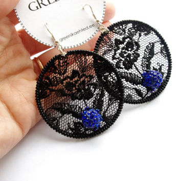 Black embroidered lace evening earrings