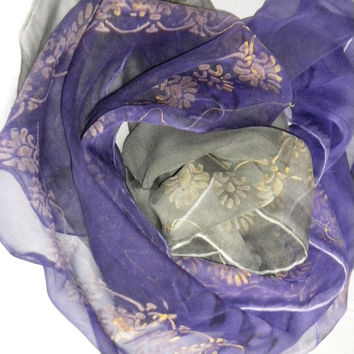 silk scarf color purple 100% silk Chiffon 3,5 Size: 45x180cm (71x18)) Wrapped as a gift. hand painted
