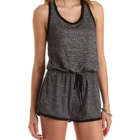 Heather Gray Racerback French Terry Romper by Charlotte Russe