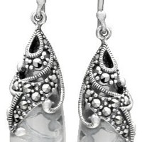 Sterling Silver Marcasite and Colored-Glass Teardrop Earrings