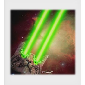 "Laser Eyes Cat in Space Design 9 x 10.5"" Rectangular Static Wall Cling by TooLoud"