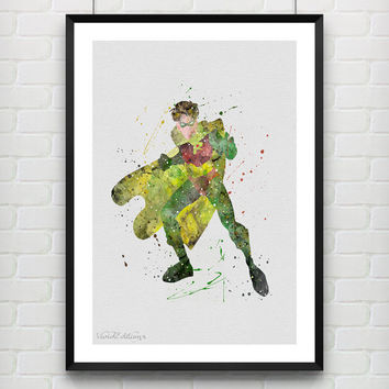 Robin Watercolor Print, DC Comics Batman Marvel Superhero Poster, Boys Room Wall Art, Home Decor, Not Framed, Buy 2 Get 1 Free! [No. 117]