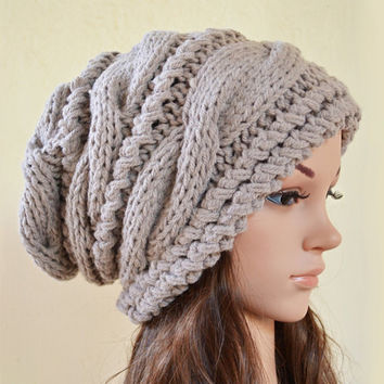 Slouchy cable style beanie hat - SUN BUFF/BEIGE - womens chunky accessories teen girls - slouch