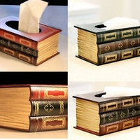 Multicolor Vintage Book Tissue Box Cover Paper Holder Home Decor Gift #mgsu = 1946460740