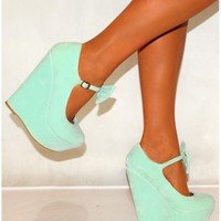 Koi Couture Ladies Hr110 Mint Green Bow Wedges - Footwear from Designerwear.co.uk UK