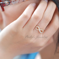 Classic Infinity Ring - Infinity Ring with Diamonds - Perfect Gift - Eternity Promise