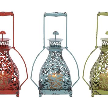 Metal candle holder 3 assorted with vibrant colors