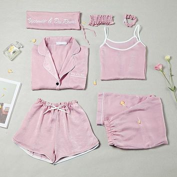 Spring & Summer Women Causal Comfortable Pajama Seven Sets Top+camisole+pants+shorts+hair Band+hair Ring+bag Female Sleepwear