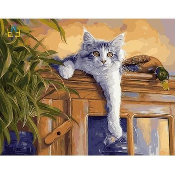 Paint It Yourself! 40x50cm Framed Lounging Cat on Canvas Digital Oil Paint-By-Numbers Craft Decor