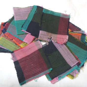 27 Vintage Madras Plaid Quilt Pieces, Two Vintage Quilt Blocks, 5 Plaid Pieces, Tattered Block, Destash 1940s Vintage Fabric, Quilt Supply