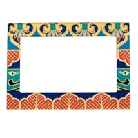 Chinese Japanese Geometric Pattern Design Oriental Photo Frame Magnets