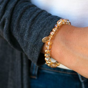 Stay Hydrated Clear Camel Beaded Bracelet