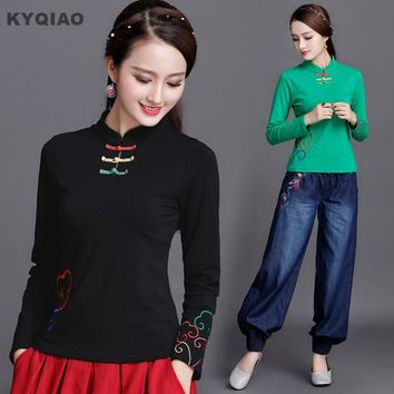 KYQIAO Traditional Chinese clothing ethnic shirt m-4xl original designer long sleeve mandarin collar green black white t shirt
