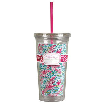 Tumbler with Straw in Lobstah Roll by Lilly Pulitzer
