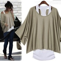 L 071304 bb Fashion, bat sleeve, loose big yards T-shirt from funkycatsterz