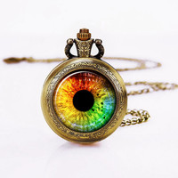 Pocket Watch Necklace, EYES Necklace, Colourful Eyes, Birthday Necklace, Copper necklace