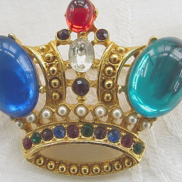 Vintage Crown Brooch Jeweled
