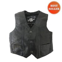 Kids Leather Vests - Kids Black Motorcycle Leather Vest KV738 | AihaZone Store