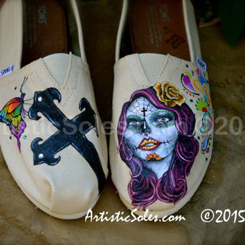 Sugar Skull and Iron Cross Custom TOMS by Artistic Soles