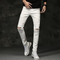 Men Jeans Stretch Destroyed Ripped Design Black White Classic Fashion Ankle Zipper Skinny Jeans for Men