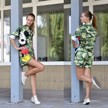 HEYounGIRL 2016 new Camouflage Cute Women Casual Sports Shorts Rompers Cartoon Mouse Pattern Print Jumpsuits Women Fitness Set