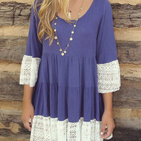 Blue Violet Lace Detail Pleated Mini Dress